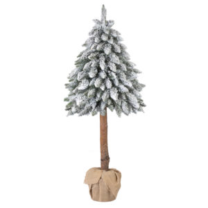 Artificial Christmas Tree Flocked Natural Spruce In A Burlap Sack FairyTrees