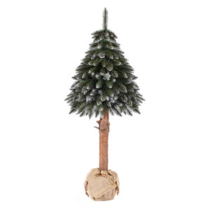 Artificial Christmas Tree White Frosted Spruce In A Burlap Sack