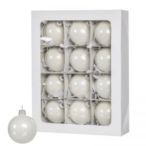 White Christmas balls 12 pcs 6 cm