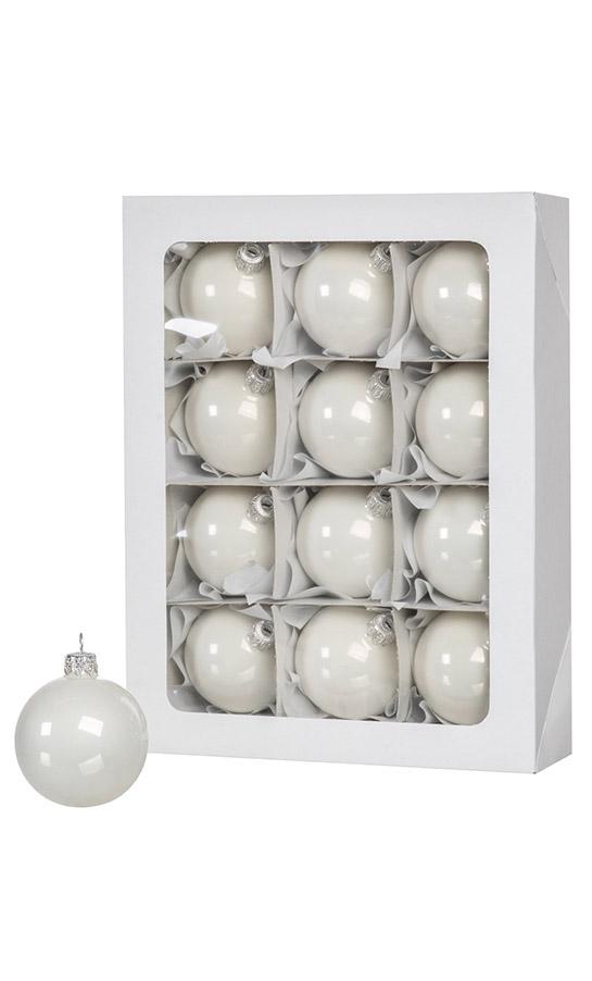 White Christmas balls 12 pcs 6 cm