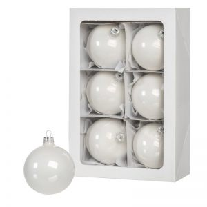 White Christmas balls 6 pcs 8 cm